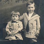 SOLD Vintage Real Photo Postcard, Little Boys in Sailor Suits, RPPC