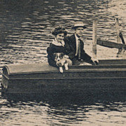 Puppy Dog and Pretty Lady in Wooden Boat, Vintage or Antique Real Photo Postcard, RPPC