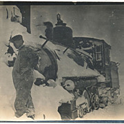 Vintage Real Photo Postcard, Steam Train Stuck in Snow, RPPC
