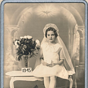 Vintage Photograph, Exquisitely Beautiful Little Girl in White Veil, Flowers, 1945