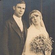 Bride with Long Veil, Beautiful Gown, Vintage Wedding Photo, Art Deco Matte
