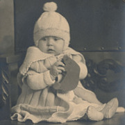 Baby with Toy Bear, Pom-Pom Bonnet, Original Vintage Sepia Photo in Art Nouveau Matte