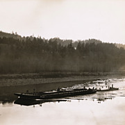 Barge and Tugboat on Columbia River, Original Vintage Photo, Well-Known Attributed Oregon ...
