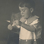 Lily Flower and Little Boy in Sailor Suit, Original Vintage Photo