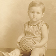Little Boy with Toy Ball and Cupcake on Shirt, Original Vintage Sepia Photograph