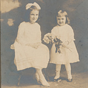 Vintage Studio Photo Portrait, Pretty Little Girls in White Dresses with Flowers