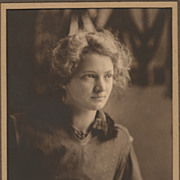Young Lady Reading a Book, Vintage Sepia Photo, Studio Portrait