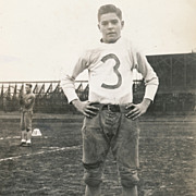 Vintage Sports Photo, Handsome Football Player in Uniform on the Field