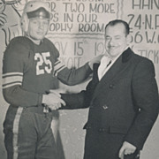 Vintage Sports Photo, Football Player in Uniform Shaking Hands