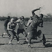Vintage Sports Photo, Football Players in Uniform, Tackle in Action