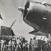 WWII Aircraft Carrier, Landing Airplane, LARGE Photo, Gun Turrets, Propeller