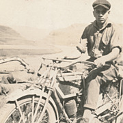 Vintage Motorcycle, 1920s, Western Americana, Handsome Man, Photo