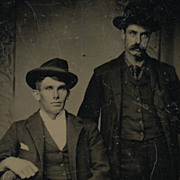 Antique Victorian Photo, Tintype, Two Handsome Men in Western Cowboy Hats
