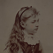 SOLD Antique Victorian Photograph, Tintype of Pretty Little Girl, Long Hair and Lace Collar