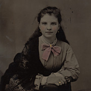 SOLD Antique Victorian Tintype Photo, Pretty Girl, Pink Bow, Lace Shawl