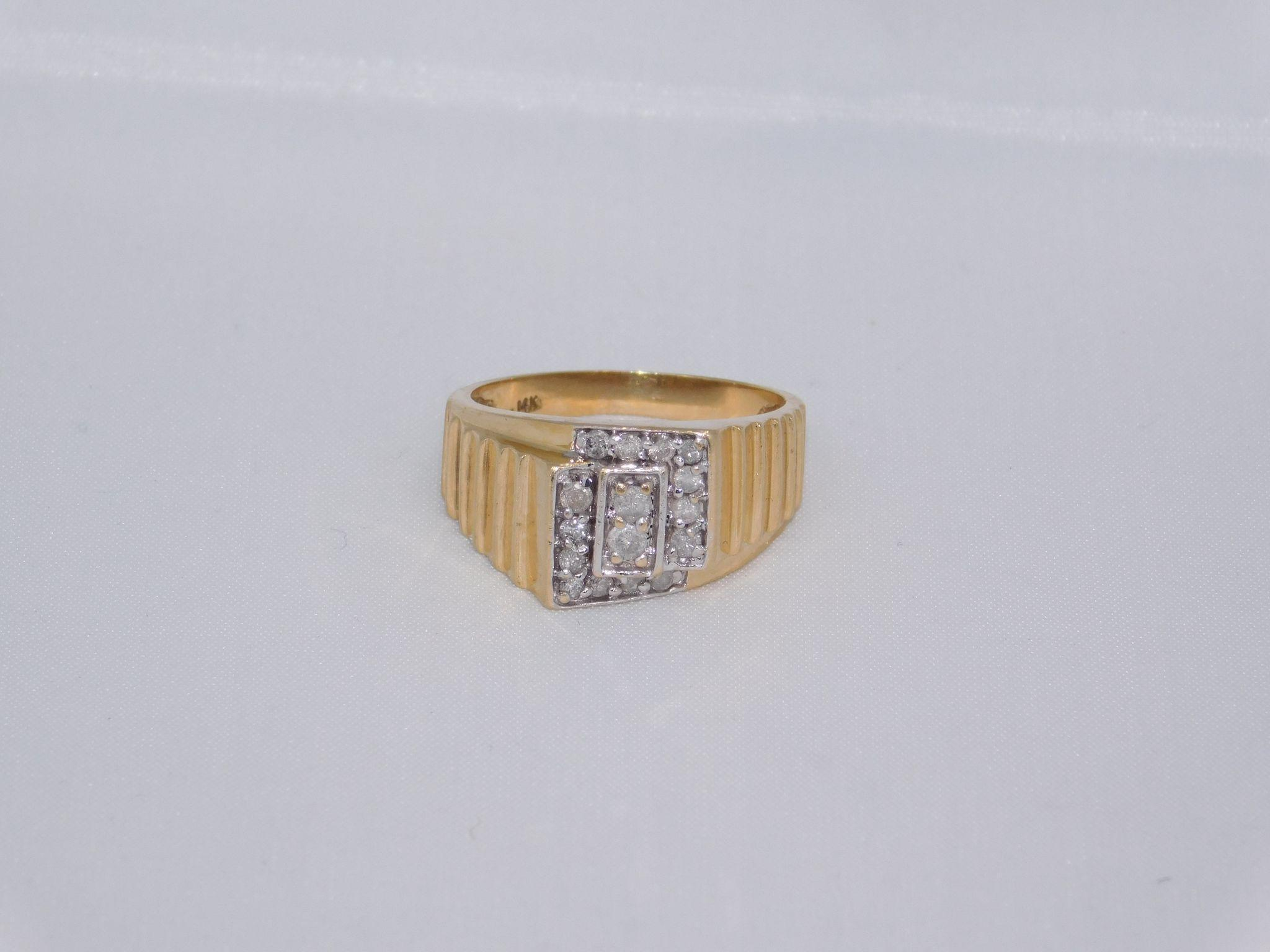 Man s Diamond 14 Karat Gold Ring from susieantiques on Ruby Lane