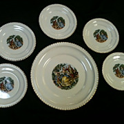 REDUCED The Harker Pottery Co 22 kt Gold Trim Cake plate and 6 dessert plates