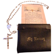 Vintage Sterling Silver Mini Rosary Original Leather Pouch