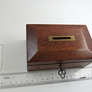 SOLD Vintage Wooden Coin Collection Box With Key