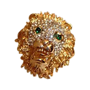 Hattie Carnegie Lion Head Brooch Gorgeous Piece! Signed Hattie Carnegie