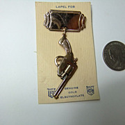 Vintage Gun Lapel Pin  Hangs from Plain Lapel Fob Articulated