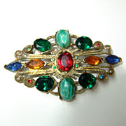 Vintage Art Deco Style Brooch, Fruit Salad Brooch, Gold tone