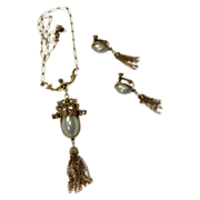 Goldette Vintage Faux Pearl Tassel Pendant with Earring Set