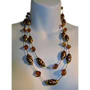 Vendome AB Crystal Gold and Brown 2 Strand Necklace Amazing!