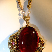 Vintage Victorian Pendant Huge Center Stone- Dramatic Piece