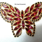 YSL Yves St Laurent Butterfly Brooch Large Gorgeous