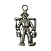 Vintage Dutch Boy carrying water buckets Sterling Silver