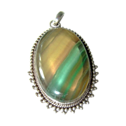 Vintage Agate Sterling Silver Pendant Large