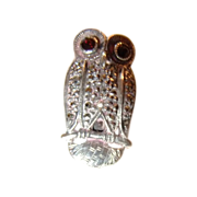 Vintage Owl Sterling Silver Marcasite Pin