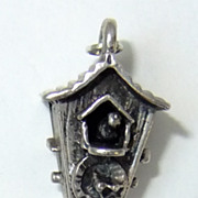 Vintage Articulated Coo-Coo Clock Sterling Silver Charm