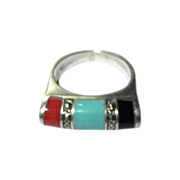 Vintage Sterling Silver Turquoise Onyx Carnelian Ring Marcasite Accents