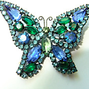 Weiss Butterfly Blue Green Signed Japanned Gorgeous Brooch