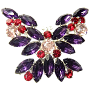 Czech Crystal Butterfly Brooch Beautiful Colors Purple, Pink,Red