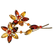 Juliana Crystal Flower Brooch Beautiful Colors