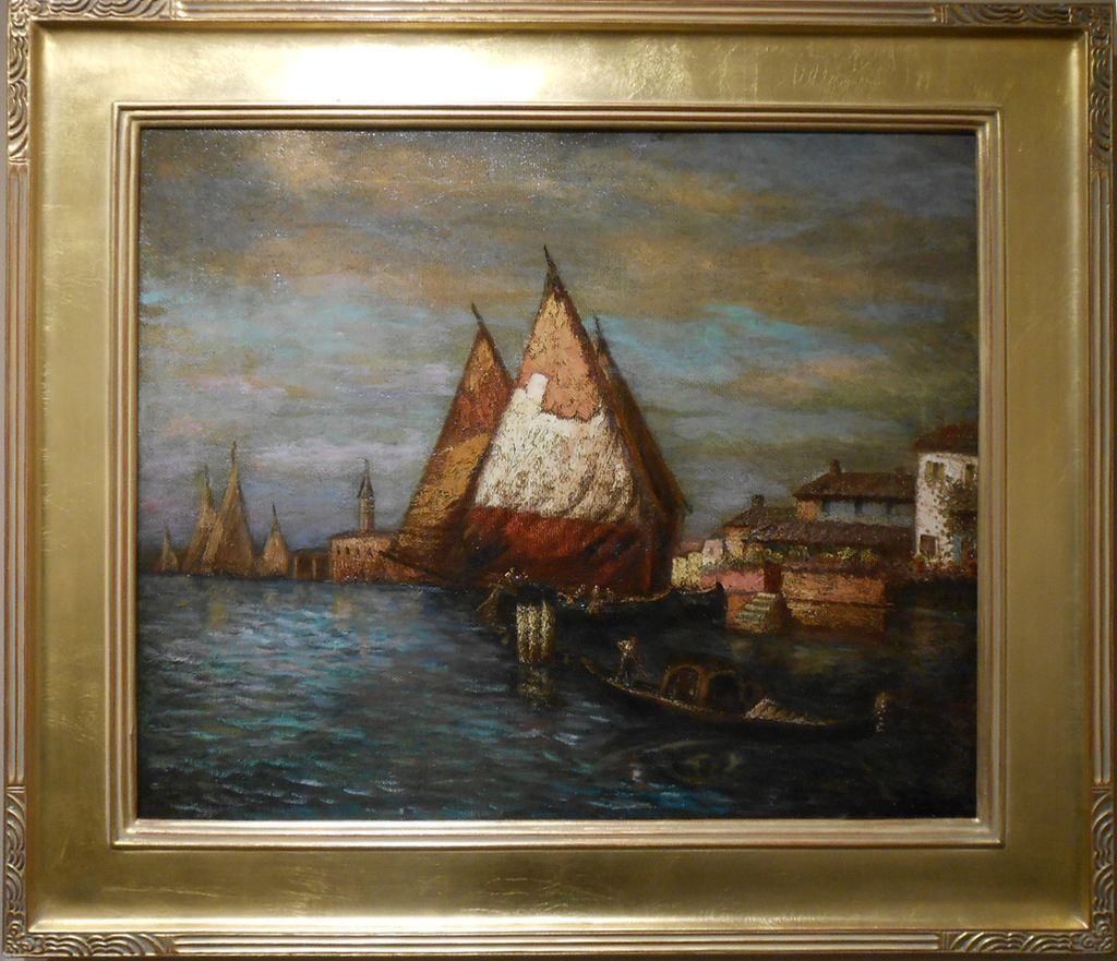 19th century impressionist venice sunrise oil painting for Oil paintings for sale amazon