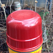 Hopalong Cassidy Metal Thermos. Red lid with Yellow Thermos
