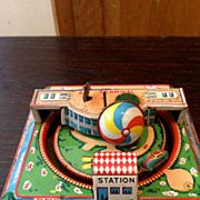 Vintage Windup Japan, America, England, France Print Air Terminal Tin Toy