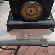 Vintage Cast Iron New Haven Mantel 8 Day Clock