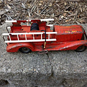 Vintage  Pressed Steel Friction Wind Up Toy Fire Truck Marx With Siren 1930s