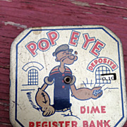 1929 Vintage Depression Era Popeye Dime Register Bank By King Feature Syndicated  2 1/2 ...
