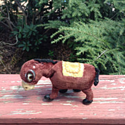 Vintage WINKING DONKEY Mechanical Wind-Up Tin Toy Japan 1950's