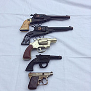 6 Toy Pistols 2 Leslie Henry,  Marx Special , Arcor , Kilgore,  Hubley Very Rare all together