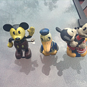 Three Disney Wind Up Toy's Donald Duck , Mickey Mouse and Dancing Mickey & Minnie