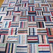 Antique 1880s Log Cabin QUILT foundation pieced TOP Indigo Blue Turkey Red