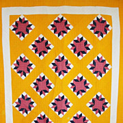 Antique 1880s Rich Cheddar Star QUILT ~ Beautiful Color