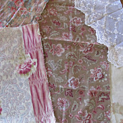 SOLD 5 piece set c1880 Victorian Floral Fabrics for Inspiration